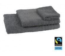 4-delige handdoekenset Fairtrade donkergrijs