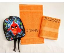 Zwemset met rugzakje Angry Birds (kleur handdoeken naar keuze)