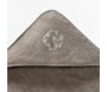 Badcape in taupebeige badstof met wit schaapje en effen washandje