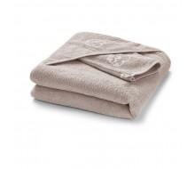 Badcape en washandje in touwbeige badstof met wit geborduurd schaapje