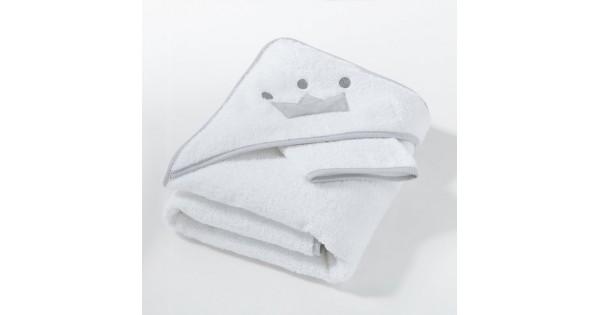 Badcape kroontje in badstof met effen washandje