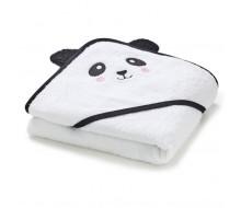 Badcape Panda in witte badstof