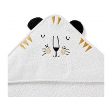 Badcape tijger in witte badstof