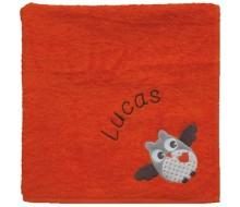 Handdoek oranje met uiltje