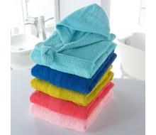Badjas in badstof met kap (kinderen)