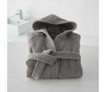 Badjas in badstof met kap (kinderen) in donkergrijs maat 150/162 (12 jaar/14 jaar)