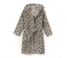 Badjas in fleece met kap (kinderen) grijs bedrukt met donkerblauwe pootjes maat 150 (12 jaar)