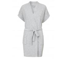 Badjas in lichtgrijze badstof met kimonokraag (dames) maat L/XL
