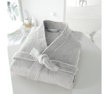 Badjas in badstof met kimonokraag (volwassenen) in lichtgrijs maat 42/44 (M)