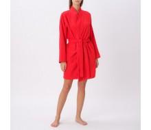 Badjas in rode badstof met kimonokraag (volwassenen) maat L/XL
