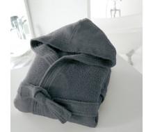 Badjas in badstof met kap (volwassenen) in donkergrijs maat 50/52 (XL)