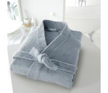 Badjas in badstof met kimonokraag (volwassenen) in grijsblauw