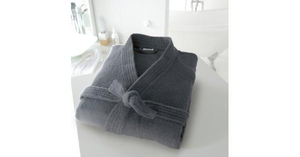 Badjas in badstof met kimonokraag (volwassenen) in donkergrijs