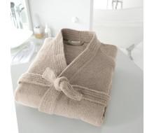 Badjas in badstof met kimonokraag (volwassenen) in beige maat 42/44 (M)