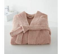 Badjas in badstof met kimonokraag (volwassenen) in poederroze maat 42/44 (M)