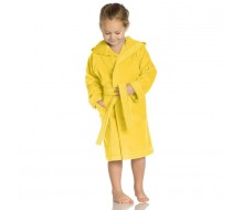 Kinderbadjas effen in badstof (350 g/m²) met kap in zonnig geel - 2 jaar (maat 86)