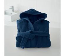 Badjas in badstof met kap (kinderen) in marineblauw maat 102/114 (4 jaar/6 jaar)