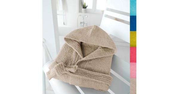 Kinderbadjas in badstof (350 g/m²) met kap in touwbeige