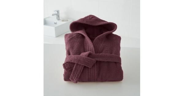 Kinderbadjas in badstof (450 g/m²) met kap in vijg