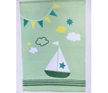 Handdoek groen met bootje 100% biokatoen