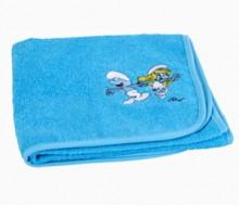 handdoek turkoois De Smurfen (50 cm x 90 cm) + effen washandje