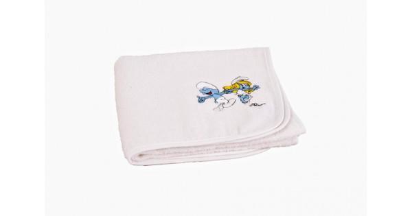 handdoek wit De Smurfen (50 cm x 90 cm) + effen washandje