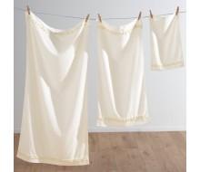 3-delige handdoekenset met fantasiestrook ivoor