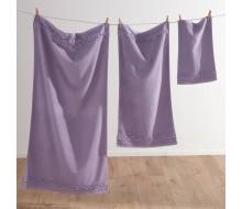 3-delige handdoekenset met fantasiestrook violine