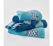 6-delige handdoekenset donkerblauw/ turkoois en een rode toets