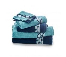 6-delige handdoekenset donkerblauw/ turkoois/ wit