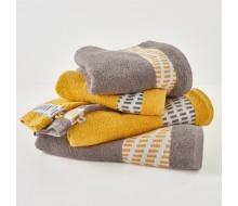 6-delige handdoekenset grijs/ geel/ ecru