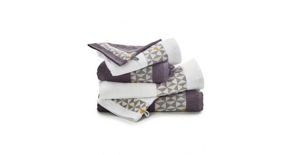 6-delige handdoekenset grijs/ wit/ saffraan