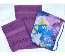2-delige handdoeken(zwem)set Jules Clarysse violet