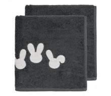 handdoek (50 cm x 100 cm) + washandje donkergrijs