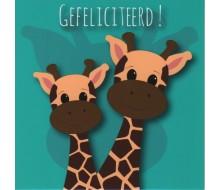 Kaartje girafjes 'Gefeliciteerd!'