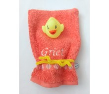 Washandje Clarysse oranje + geel badeendje