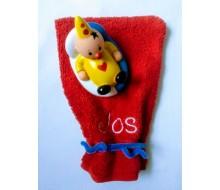 Washandje Clarysse (beschikbaar in 16 kleuren) + badspeeltje Bumba