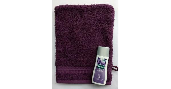 Washandje Santens Tenderness violet + mini Kneipp lavendel douche (30 ml)