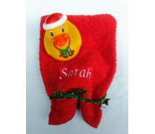 Washandje Clarysse Viva rood + badeendje kerst