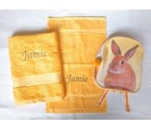 Zwemset met rugzakje konijn (kleur handdoeken naar keuze)