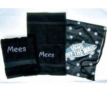 Zwemset Vans Benched Black (kleur handdoeken naar keuze)