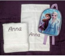 Zwemset met rugzakje Frozen (kleur handdoeken naar keuze)